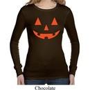 Ladies Shirt Orange Jack O Lantern Long Sleeve Thermal Tee T-Shirt
