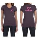 Ladies Shirt Pink Ribbon I Heart a Survivor Front & Back V-neck Tee