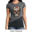 Ladies Shirt Sugar Skull with Roses Tri Blend Crewneck Tee T-Shirt