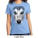 Ladies Siberian Husky Shirt Big Siberian Husky Face Tee T-Shirt