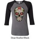 Ladies Skull Shirt Sugar Skull with Roses Raglan Tee T-Shirt