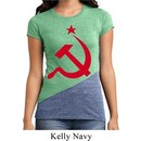Ladies Soviet Shirt Red Hammer And Sickle Tri Blend Crewneck Tee