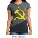 Ladies Soviet Shirt Yellow Hammer And Sickle Tri Blend Crewneck Tee