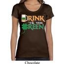 Ladies St Patrick's Day Shirt Drink Til Yer Green Scoop Neck Tee
