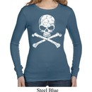 Ladies White Distressed Skull Long Sleeve Thermal Shirt
