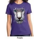 Ladies White Tiger Shirt Big White Tiger Face Tee T-Shirt