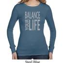 Ladies Yoga Shirt Balance Your Life Long Sleeve Thermal Tee T-Shirt