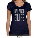 Ladies Yoga Shirt Balance Your Life Scoop Neck Tee T-Shirt