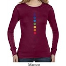 Ladies Yoga Shirt Glowing Chakras Long Sleeve Thermal Tee T-Shirt