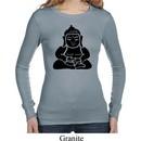 Ladies Yoga Shirt Shadow Buddha Long Sleeve Thermal Tee T-Shirt