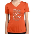 Lung Cancer Tee Hope Love Cure Ladies Dry Wicking V-neck