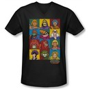 Masters Of The Universe Shirt Slim Fit V Neck Character Heads Black Tee