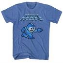 Mega Man Shirt Gunner Heather Blue T-Shirt