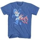 Mega Man Shirt Lets Goooo Heather Blue T-Shirt
