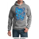 Mens Biker Hoodie Screaming Blue Skulls Hoody