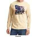 Mens Biker Shirt American Pride Motorcycle Long Sleeve Tee T-Shirt