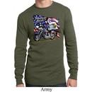 Mens Biker Shirt American Pride Motorcycle Long Sleeve Thermal Tee
