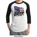 Mens Biker Shirt American Pride Motorcycle Raglan Tee T-Shirt