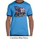 Mens Biker Shirt American Pride Motorcycle Ringer Tee T-Shirt