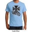 Mens Biker Shirt Chopper Cross Skeleton Organic Tee T-Shirt