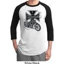 Mens Biker Shirt Chopper Cross Skeleton Raglan Tee T-Shirt