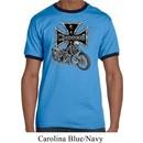 Mens Biker Shirt Chopper Cross Skeleton Ringer Tee T-Shirt