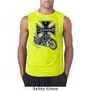 Mens Biker Shirt Chopper Cross Skeleton Sleeveless Tee T-Shirt