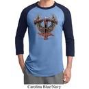 Mens Biker Shirt Prayer Warrior Raglan Tee T-Shirt