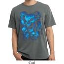 Mens Biker Shirt Screaming Blue Skulls Pigment Dyed Tee T-Shirt