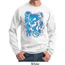 Mens Biker Sweatshirt Screaming Blue Skulls Sweat Shirt