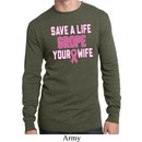 Mens Breast Cancer Shirt Grope Your Wife Long Sleeve Thermal Tee