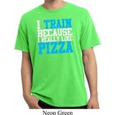 Mens Fitness Shirt I Train For Pizza Pigment Dyed Tee T-Shirt