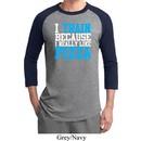 Mens Fitness Shirt I Train For Pizza Raglan Tee T-Shirt