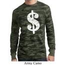 Mens Funny Shirt Distressed Dollar Sign Long Sleeve Thermal T-Shirt