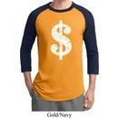 Mens Funny Shirt Distressed Dollar Sign Raglan Tee T-Shirt