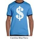 Mens Funny Shirt Distressed Dollar Sign Ringer Tee T-Shirt