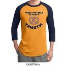 Mens Funny Shirt Thirsty Pretzels Raglan Tee T-Shirt