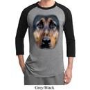 Mens German Shepherd Shirt Big German Shepherd Face Raglan Tee T-Shirt