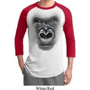 Mens Gorilla Shirt Big Gorilla Face Raglan Tee T-Shirt