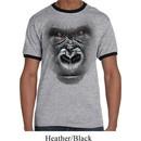 Mens Gorilla Shirt Big Gorilla Face Ringer Tee T-Shirt