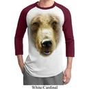 Mens Grizzly Bear Shirt Big Grizzly Bear Face Raglan Tee T-Shirt