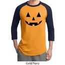 Mens Halloween Shirt Black Jack O Lantern Raglan Tee T-Shirt