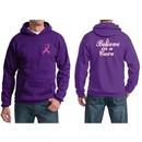 Mens Hoodie Pink Ribbon Believe in a Cure Front & Back Print Hoody