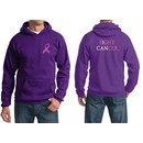 Mens Hoodie Pink Ribbon Fight Cancer Front & Back Print Hoody