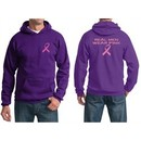 Mens Hoodie Pink Ribbon Real Men Wear Pink Front & Back Print Hoody