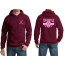 Mens Hoodie Pink Ribbon Tackle Cancer Front & Back Print Hoody