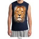 Mens Lion Shirt Big Lion Face Muscle Tee T-Shirt
