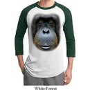 Mens Orangutan Shirt Big Orangutan Face Raglan Tee T-Shirt