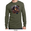 Mens Pirate Shirt Tell No Tales Pirate Long Sleeve Thermal Tee T-Shirt