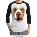 Mens Pit Bull Shirt Big Pit Bull Face Raglan Tee T-Shirt